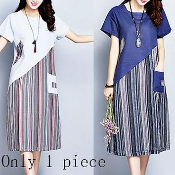 Summer new plus-size cotton and linen striped patchwork long linen short sleeve dress  Only 1 piece