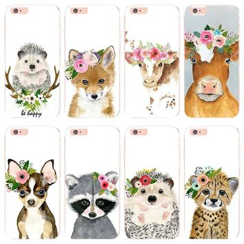 MaiYaCa Animal head wearing flowers hedgehog cow dog fox for iphone 6s plus case For iphone 7 7plus X 8 8plus Mobile phone cover