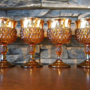 "DIAMOND POINT, Amber ""Golden Elegance"" by Indiana Glass ""Wine Set"" with Thick Gold Band Rim-Set of 4-1978"