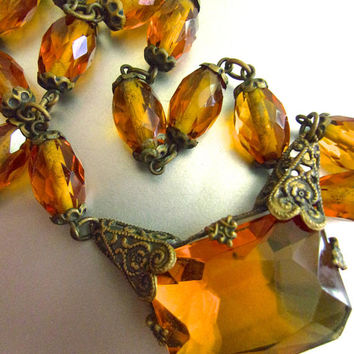 Art Deco CZECH Amber Glass Necklace, Filigree, Brass, Signed Vintage