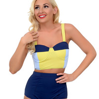 Kingdom & State 1960s Style Mod Yellow, Light Blue & Navy Color Block Bombshell Balconette Swim Top