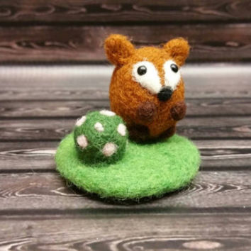 Popcorn Fox and Mini Garden Landscape - Needle Felting Sculpture - Felted Pig - Soft Animal - Handmade Art