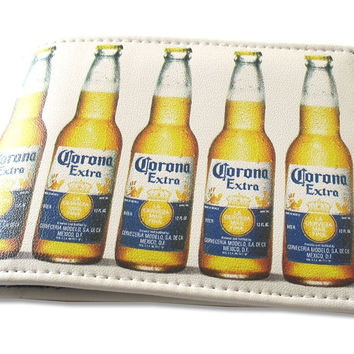 20217486050 Corona Bottles White Faux Leather Bi-Fold Wallet