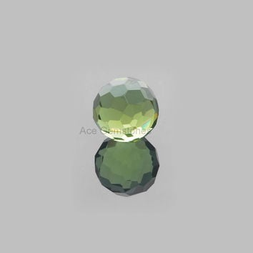 Football Cut Green Amethyst Faceted Loose Gemstone Round 15mm AAA Grade, Calibrated Cabochons - 1 Pcs.