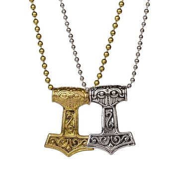 Punk Norse Viking Thor Hammer Pendant Necklace for Men