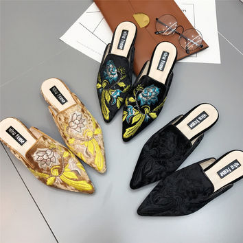 2017 Women Embroidery Velet Mules Fur Slides Chiara Ferragni Furry Slipper Med Heel Flip Flops Slipony Slip On Sandals Shoes