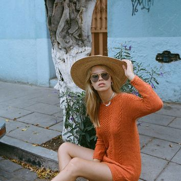 Avalon Cable Knit Dress in Citrine