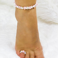 Beaded Anklet and Toe Ring Set Pink & White Ankle Bracelet Beach Jewelry Bridesmaid Gift for Women Accessories Sexy Beachwear Wedding Anklet