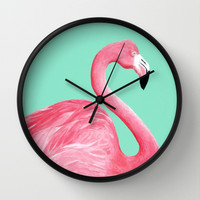 Pink Flamingo Wall Clock by Lorri Leigh Art