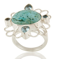 Handmade Turquoise And Blue Topaz Ring In Solid Sterling Silver