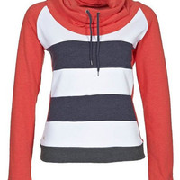 Stripe Color Block Sleeve Drawstring Hoodie