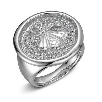 SLANE Bee Wax Seal Signet Diamond Ring in Sterling Silver 5/8ctw - ...