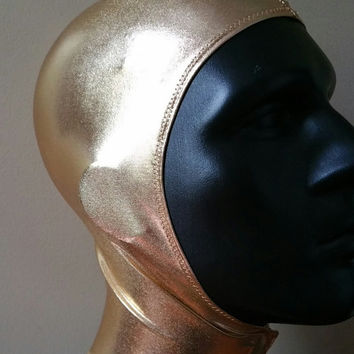 Unisex Metallic Gold Spandex Stretch Hood with Velcro Front Closure One Size READY TO SHIP mg1
