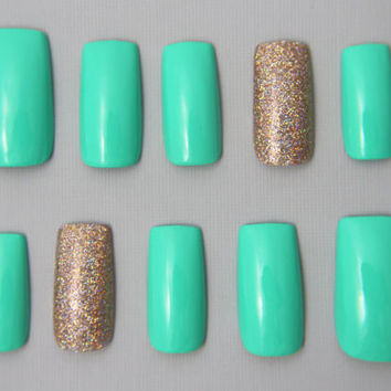 Long Square Green and Gold Glitter Nails | Press On Nails | Fake Nails | False Nails | Glue On Nails | Acrylic Nails | Nail Art