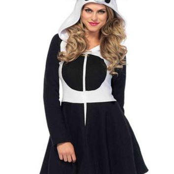 DCCKLP2 Cozy Panda, zipper front fleece dress w panda face hood and tail in BLACK/WHITE