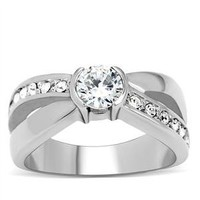 0.65 Ct Round Cubic Zirconia Stainless Steel Engagement, Wedding Ring, Size 5,6,7,8,9,10