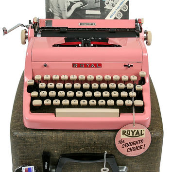 RESERVED / MINT 1956 Pink Royal Quiet De Luxe Typewriter / Original Case, Key, Owners Manual, Cleaning Brush / Professionally Serviced