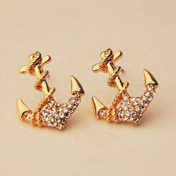 Gold Nautical Anchor Earrings