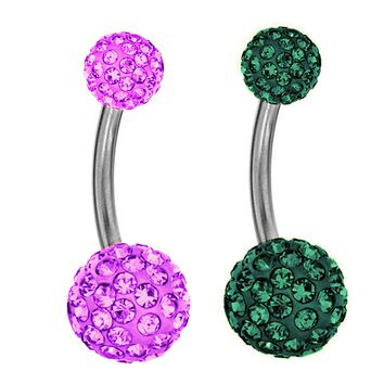 BodyJ4You 2PC Belly Button Ring Jeweled Ball Piercing 14G Kit