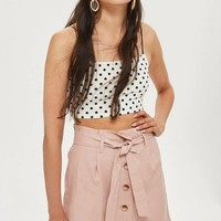 Linen Button Paperbag Skirt | Topshop
