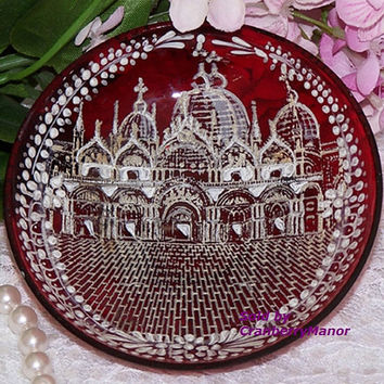 Vintage Bohemian Czech Eastern European White Enameled Cranberry Glass Nut or Trinket Dish G083
