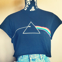 Reworked Pink Floyd crop shirt