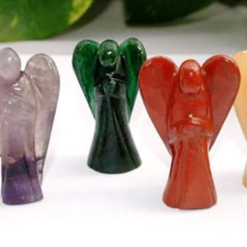 7 Chakra Gemstone Healing Angels Set ~  Excellent Set for Chakra Cleansing, Reiki Healing, and Meditation