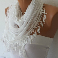 White Lace Scarf  - Shawl - Cowl with Lace Edge   - fatwoman - Bridesmaids Gifts