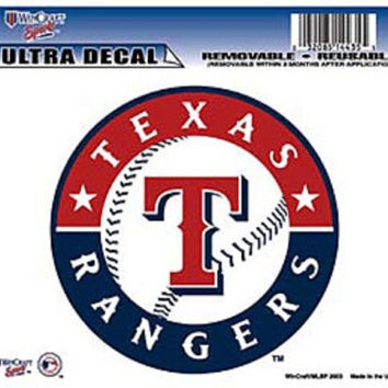 "Texas Rangers Removable 5""x6"" Car Decal"