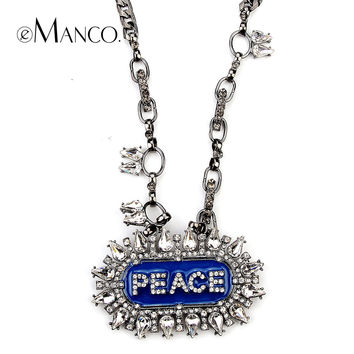 E-Manco to create The European and American fashion luxury full drill long necklace hip hop jewelry for men free shipping