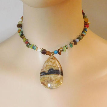 """Gemstone Choker Natural Stone Necklace Beaded Snakeskin Jasper Earth Colorful Brown Assorted Indian Ethnic 13 1/2"""" Spiritual Bohemian Hippie"""