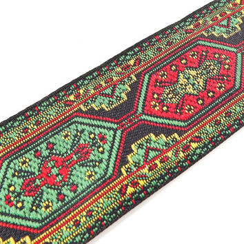 Red Green Yellow Turkish Carpet Motif Woven Embroidered Jacquard Trim Ribbon - 1 Meter or 3.3 Feet or 1.09 Yards