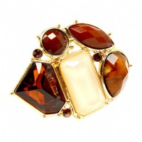 Joiee's Extra Large Brown Mixed Shape Cluster Fashion Ring - Final Sale