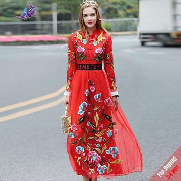 DCCKIHN High Quality 2017 New Runway Desginer Dress Women's Full Sleeve Red Flower Embroidered Bride Party Long Dresses Free DHL Fedex