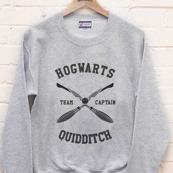CAPTAIN - Hogwarts Quidditch team Captain printed on Light steel color Crew neck Sweatshirt