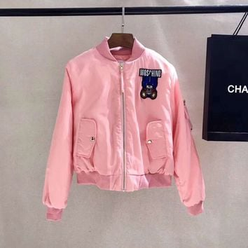 Moschino Women Fashion Pink Bomber Jacket
