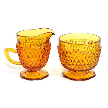 Amber Glass Cream & Sugar Bowl Set - Diamond Point Pattern by Indiana Glass Company - Retro Honey Yellow - Vintage Home Decor