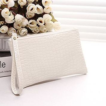 Women Clutches PU Leather Lady Wristlet Handbags Crocodile Pattern Bags  Fashion Casual Mobile Phone Evening Bag