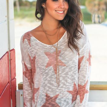 Ivory and Mauve Star Top with Twist Back