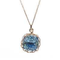 Pendant necklace, crocheted blue in gold | YooLa