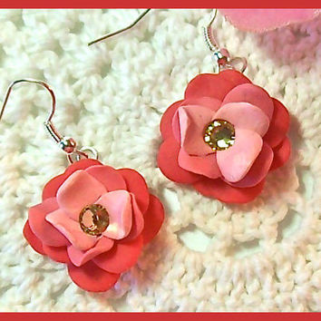 Flower Petal Earrings Polymer Clay Flower Blossoms Swarovski Crystals Dangle Earrings Handcrafted 3 shades of Coral