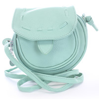 Mint Faux Leather Shoulder Handbag