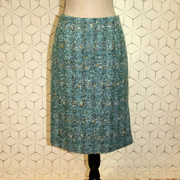 Wool Tweed Skirt Winter Skirt Nubby Midi Pencil Skirt Medium Gray Aqua Blue Green Straight Skirt Mohair Boucle Womens Skirts Womens Clothing