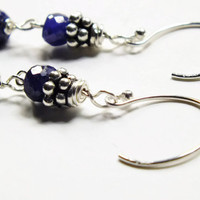 Sapphire Earrings, Genuine Blue Sapphire Earrings, Small Faceted Gemstone Earrings, September Birthstone Earrings