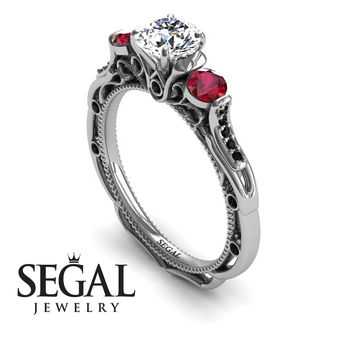 Unique Engagement Ring 14K White Gold Art Deco Victorian Ring Edwardian Ring White diamond With Ruby - Elizabeth