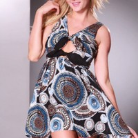 Blue Multi Knotted front Zipper Closure Party Dress