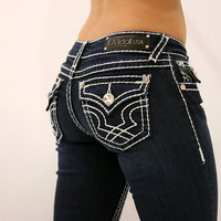 LA IDOL CLASSIC THREE RHINESTONE STUDDED DARK BLUE DENIM JEANS