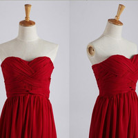 Red Strapless Sweetheart Chiffon Bridesmaid Dress Long Prom Dress Wedding Party Reception Dress