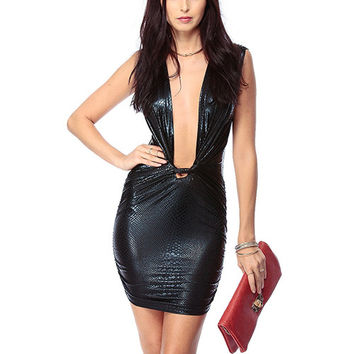 Black  V-Neck Sheath Dress