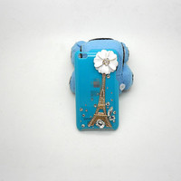 Handmade hard case for iPod Touch 4th Generation: Bling Eiffel Tower with gems (custom order are welcome)